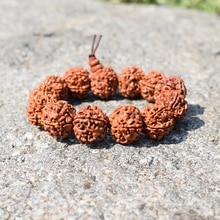 Classic Rudraksha Beads Men Bracelet Handmade Buddha Meditation Buddhism Wooden Bracelets Mens Biker Prayer Jewelry Pulsera Gift