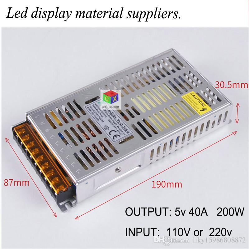 CE Certification Ultra-thin LED Display Power YY-D-200-5 Switchable Input Voltage 220v/110v Stable Operation Output  5V40A