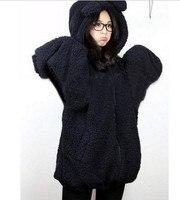 20105 Winter New Fashion Women's Ladies Bear Bunny With Ears And Tail Cartoon Plush Jacket Hooded Sweatshirt
