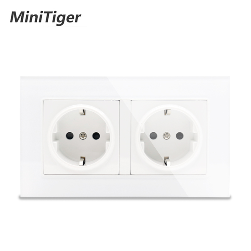 Minitiger White Luxury glass panel Wall Power Dual Socket Plug Grounded, 16A EU Standard Electrical Double Outlet 146 mm * 86 mm