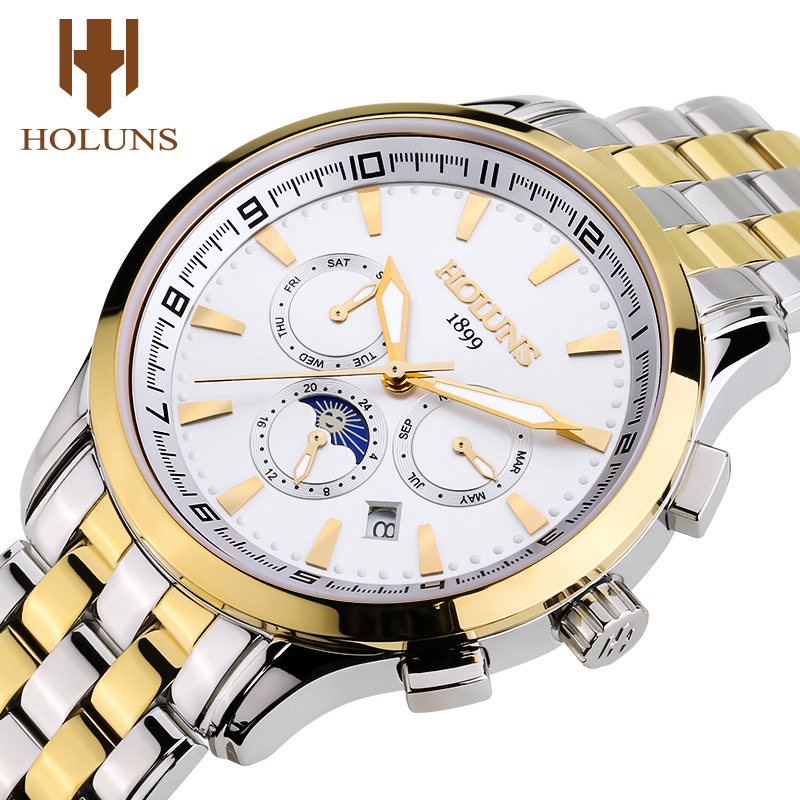 Automatic Mechanical Watch Men Gold Luxury Men's Wrist Watch Male Moon Phase Mens Watches Top Brand Luminous Relogio Masculine
