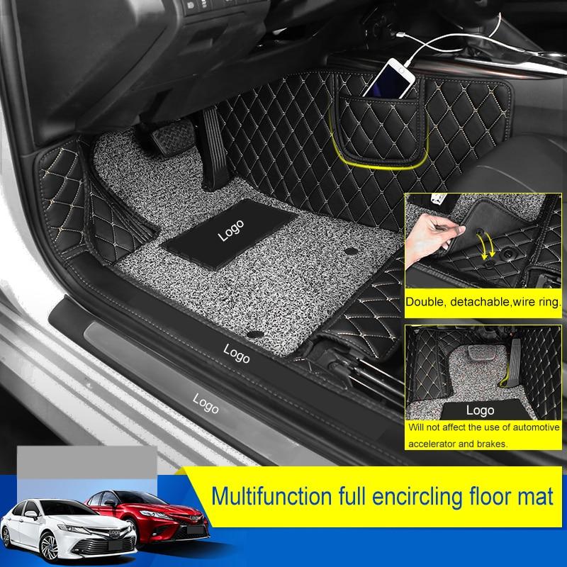 QHCP In Microfibra In Pelle Per Auto Pavimento Filo di Zerbino Orlo Pieno Nuovo Arrivo antiscivolo a prova di Polvere Piede Zerbino Accessorio per Toyota Camry 2018