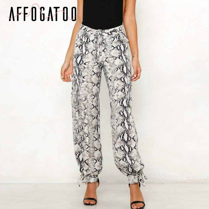 Affogatoo Casual satin high waist beach   pant   women Animal pattern snake print wide leg   pant     capris   Sexy summer   pants   female 2019