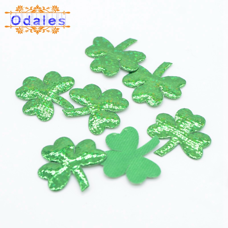 200Pcs/32Pcs Padded Clover Shape Patches Small & Big Clover Appliques DIY Clothing Patch DIY Accessory Sewing Supplies