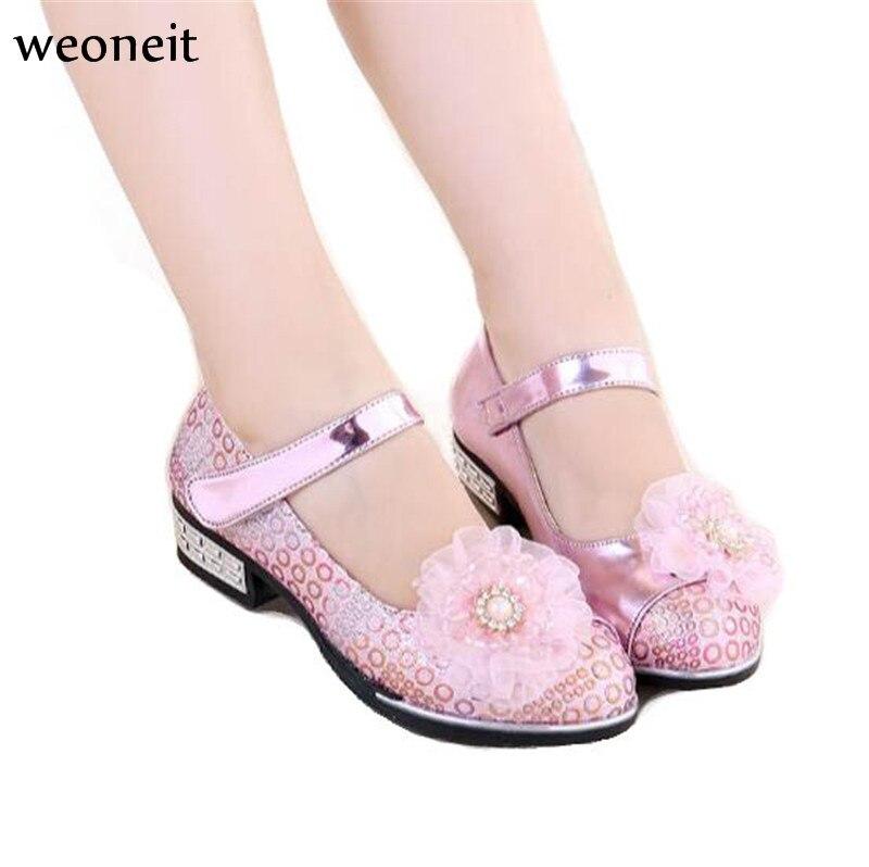 Weoneit 2019 New Summer Girls Fashion Children Princess Dress Shoes PU  Leather Maiden Kids Flat Shoes 0b944ebf6e72