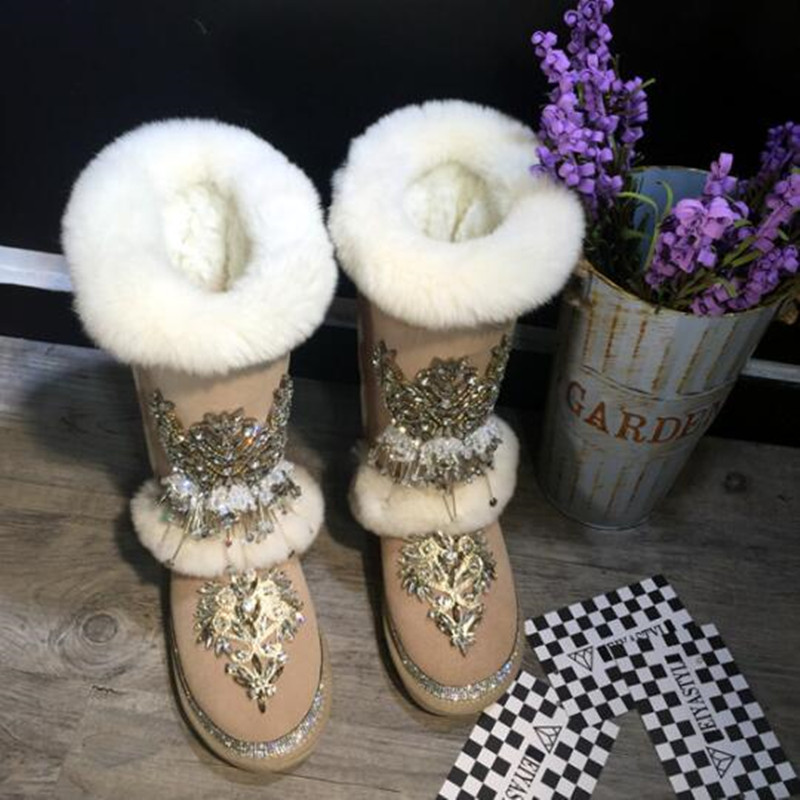 Lana Caliente Diamante Piel Mujeres Nuevas Rhinestone Real Pisos Nieve Invierno Mujer Show Botas As Gamuza 2019 Rodilla De Zapatos t6Z1qxwYnt