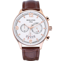 2016 Hot Sale Lage Dial Holuns Quartz Multifunction Stainless Steel Brand Men Watch Waterproof Casual Dress