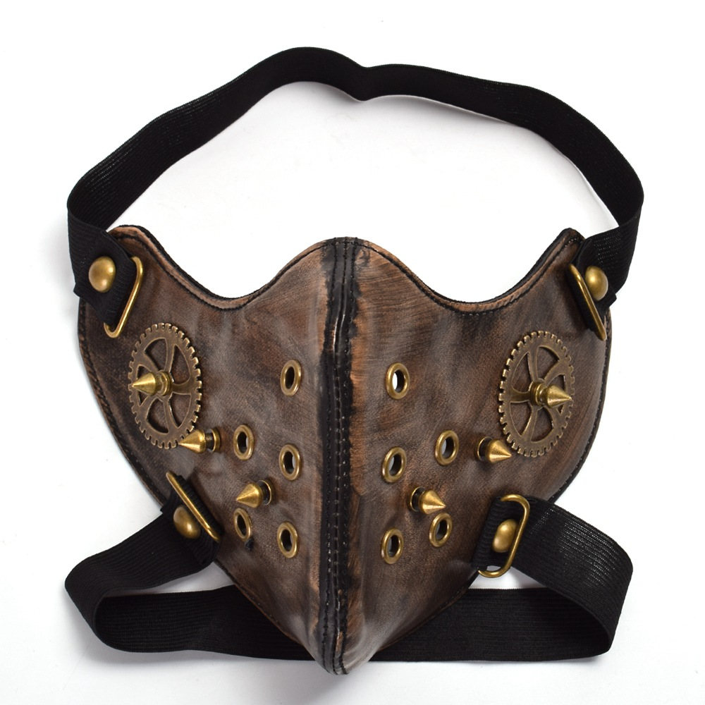 Steampunk Mask Gothic Unisex Punk Gear Rivet Half Face Halloween Cosplay Accessory