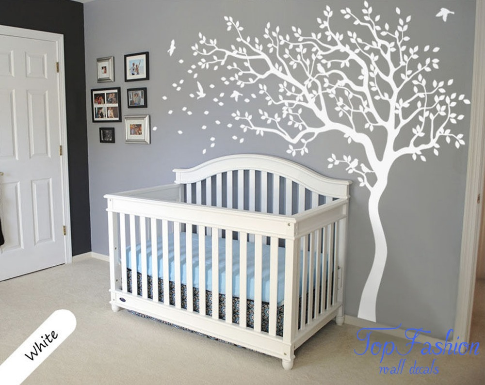 Huge White Tree Wall Decal Nursery Tree And Birds Wall Art