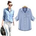 Vetement femme mulheres blusas 2017 camisa azul denim mais solto mulher do tamanho das mulheres blusa de manga longa tops blusas camisas y mujer