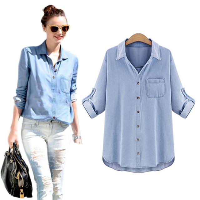 vetement femme women blouses 2017 blue denim shirt loose plus size woman long sleeve blouse women's tops blusas y camisas mujer