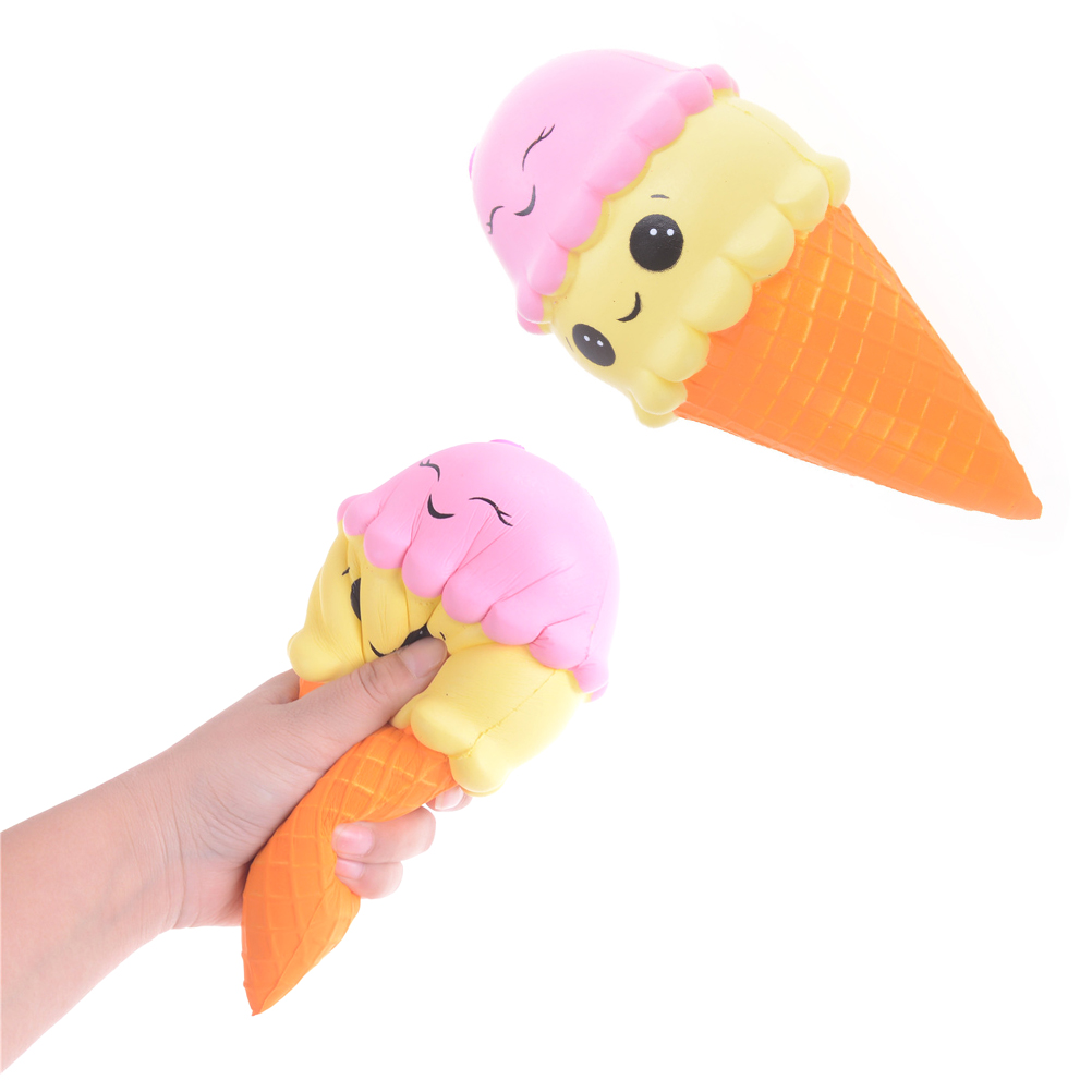 Mobile Phone Straps 10cm/22cm Squishy Cartoon Double-headed Smile Ice Cream Sweet Cone Jumbo Slow Rising Soft Squishes Toys Scented Charms Rebound