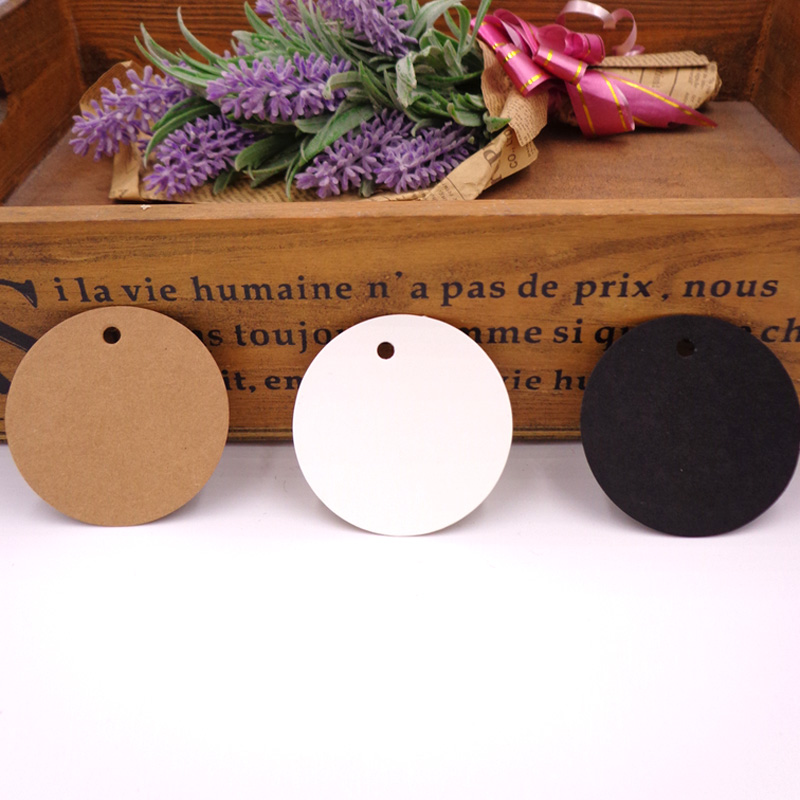 100pcs Round Brown Paper Tags, Blank Gift Tag , Wedding Gift Tags, Party Tags Cards,Price Label, Hemp String Included