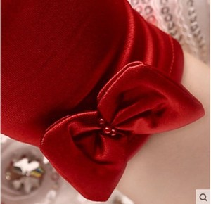 Image 4 - 5 ピース/ロットショート赤指のフラワーガールのウエディング手袋女性ダンスパーティーパフォーマンス手袋