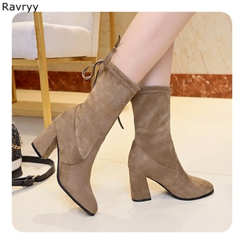 Woman's short boots brown suede leather autumn winter fashion concise girl's ankle boot thick heel slip-on female shoes