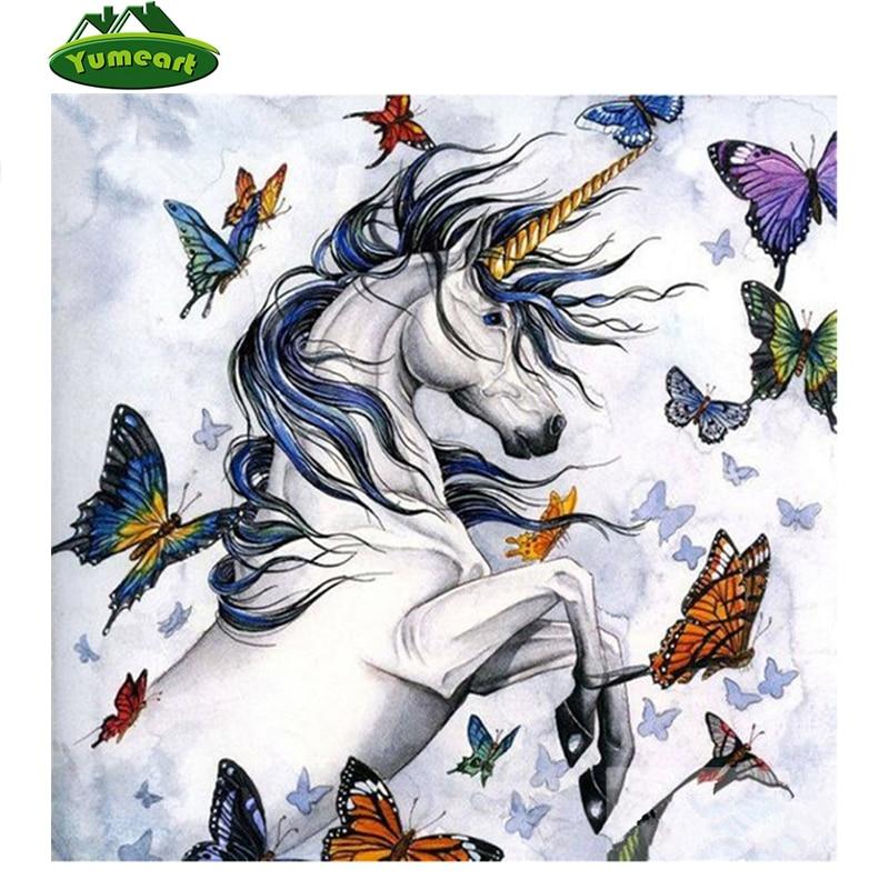 Diamond Embroidery Horse and Butterflies Diamond Painting White Unicorn Cross Stitch Crafts Mosaic Rhinestone Wall Sticker