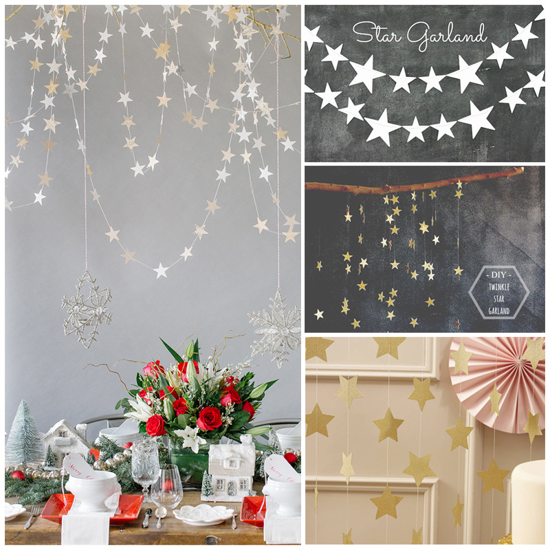 2016 new 4m long flags banner paper star hanging garlands for Home decorations with paper