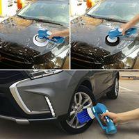 Polissage de voiture, Mini polisseuse de voiture sans fil Machine de nettoyage de voiture électrique à main ensemble d'outils étanche prise américaine (bleu)