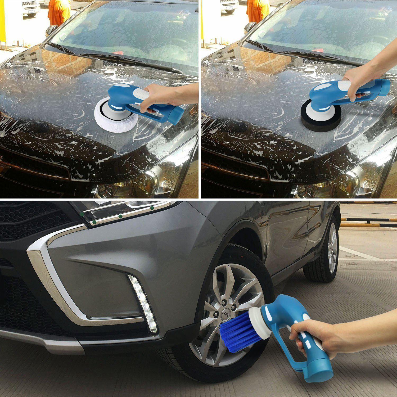 Car Polishing, Mini Cordless Car Polisher Handheld Electric Car Cleaner Machine Waterproof Tool Set US Plug(Blue)