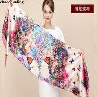 Lady Silk Scarf 2018 New Winter Women Digital Printing Shawls China Korea Style Flower Pattern 100% Silk Pashmina Beach Scarf
