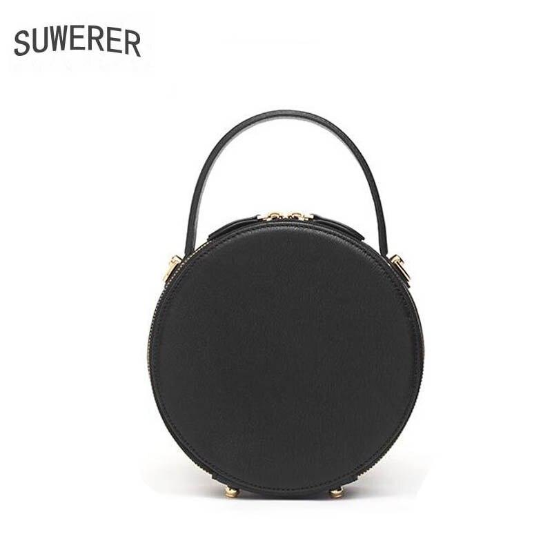 SUWERER 2019 Nuovo Delle Donne Del Cuoio Genuino borse di lusso delle donne delle borse del progettista del sacchetto di mucca In Rilievo Rotonda borsa di cuoio delle donne del sacchetto di spalla - 4
