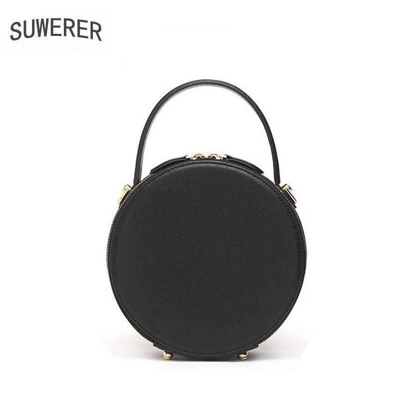 SUWERER 2019 nuevos bolsos de cuero genuino para mujer bolsos de lujo bolso de mujer de diseño de vaca en relieve bolso redondo de cuero para mujer bolso de hombro - 4