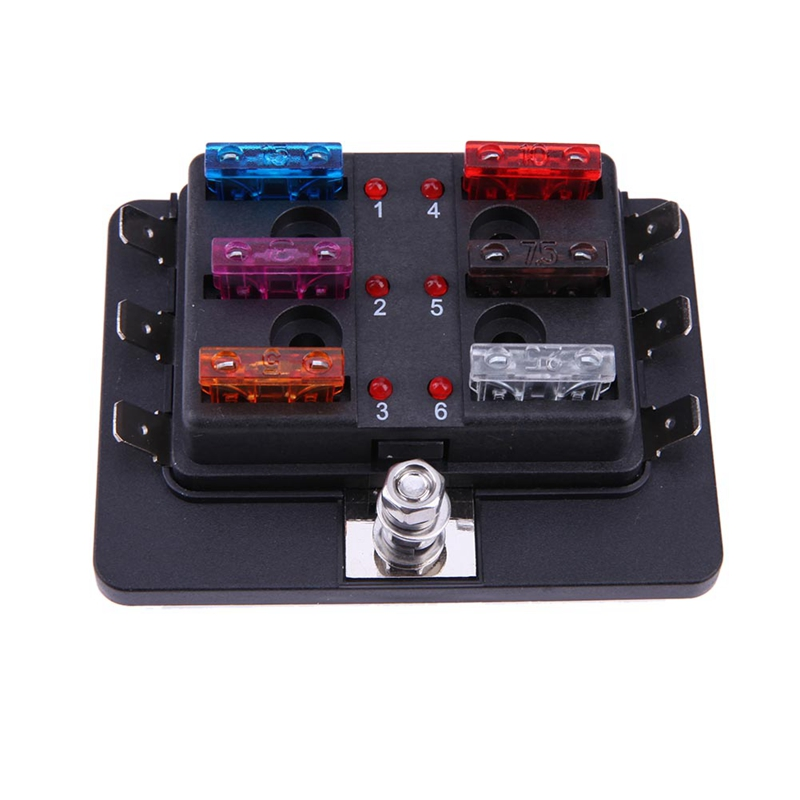 vodool auto car boat 12-32v 6 way circuit standard ato atc blade fuse box  block automotive rv fuse terminals holder box with led