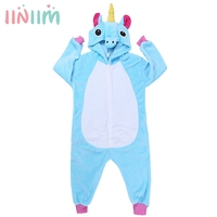 Boy Girl Pajamas Unicorn Children Robes Set Unisex Flannel Stitch Kids Robes Cartoon Animal Cosplay Onesies