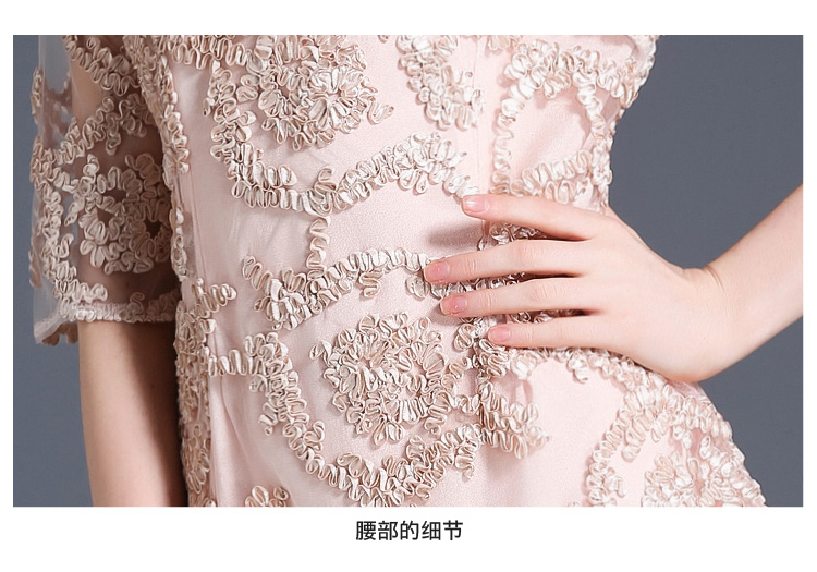 cc86990589e48 2017 Newest Fashion High Quality Light Pink Lace Runway Dress Casual ...