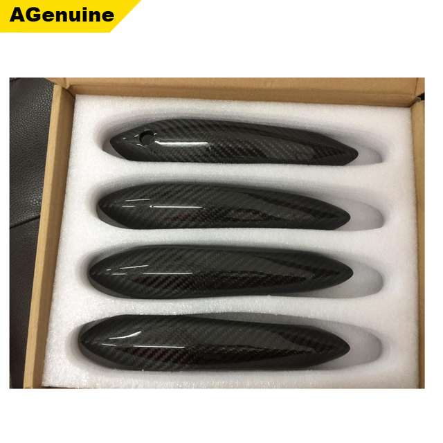 Custom 4pcsset real carbon fiber car door handle trims handle