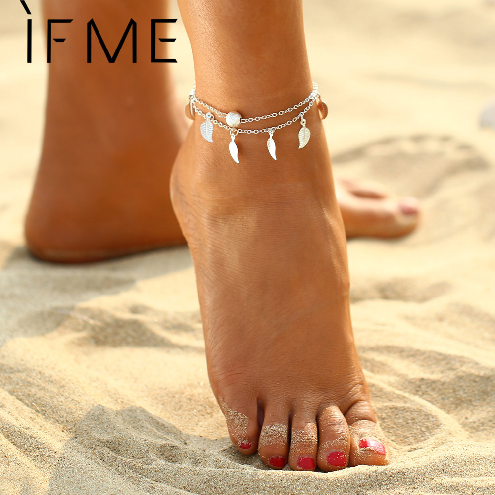 IF ME 2017 New Fashion Bohemian Leaf Anklets For Women Gold Color Link Chin Anklets Bracelets Foot Jewelry Barefoot Sandal Gift
