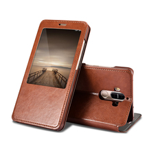 Luxury PU leather view window Flip Case for Huawei mate 9 High quality back cover For mate9 Case with stand function