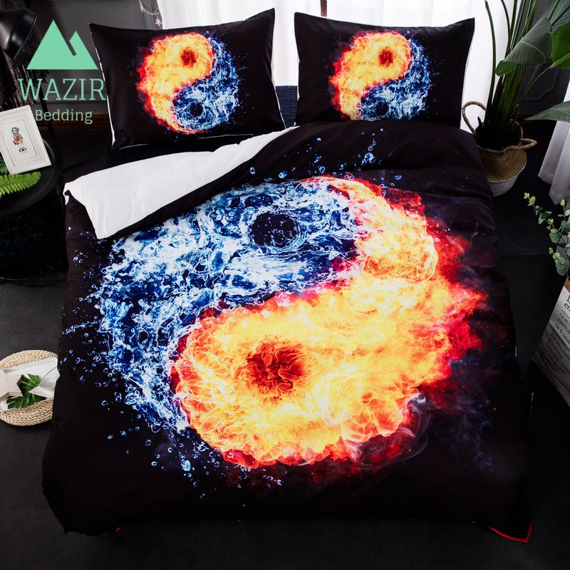 WAZIR Tai Chi Eight Diagrams Water and a Flame Bedding Set Quilt Cover Pillowcase Three Piece Set Bedroom decoration bedclothes