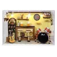 اليدوية miniatura غرفة الموسيقى خشبي مربع تجميع دمية ديي بيت الدمية بوي هدايا عيد الحب-الأخضر في شريط