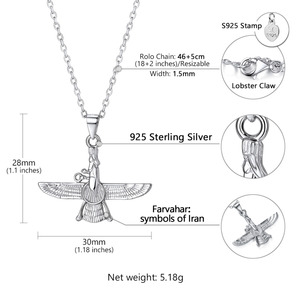 Image 2 - Kpop 925 Sterling Silver Necklace Iranian Jewelry Vintage Faravahar Ahura Mazda Necklace for Women P6328