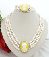 shipping New style Natural noble jewelry>>>>Women Jewerly Set 6 7mm Freshwater Pearl Yellow Beauty Clasp Bracelet Necklace