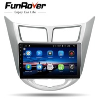 Funrover Android8.0 2 din Car DVD multimedia GPS for Hyundai Solaris Verna Accent 2011 2016 radio tape recorder video player usb