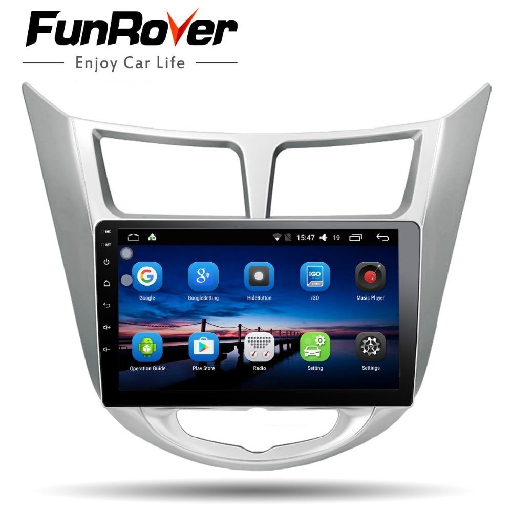 Funrover Android8.0 2 din Voiture DVD multimédia GPS pour Hyundai Solaris Verna Accent 2011-2016 radio magnétophone vidéo lecteur usb