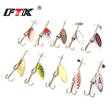 цена FTK 1PC Fishing lure Spinner Bait Fishing Lures Pesca Spinner Sequin Paillette Long Cast Coloful carp Pike  With Mustad Treble онлайн в 2017 году