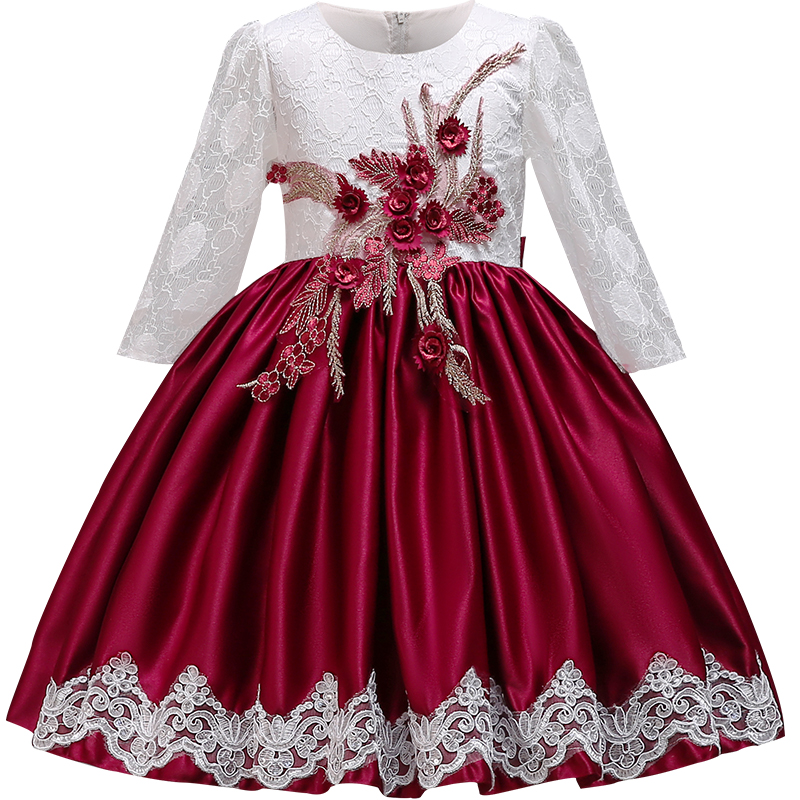 High quality Embroidery Lace   Flower     Girls     Dresses   for Wedding Party Elegent Baby   Girls   Princess   Dress   Children Christmas Vestido