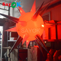 Sayok 2m Inflatable LED Balloon Satellite Model Led Lighting Balloons for Holiday Party Nightclub Decorations