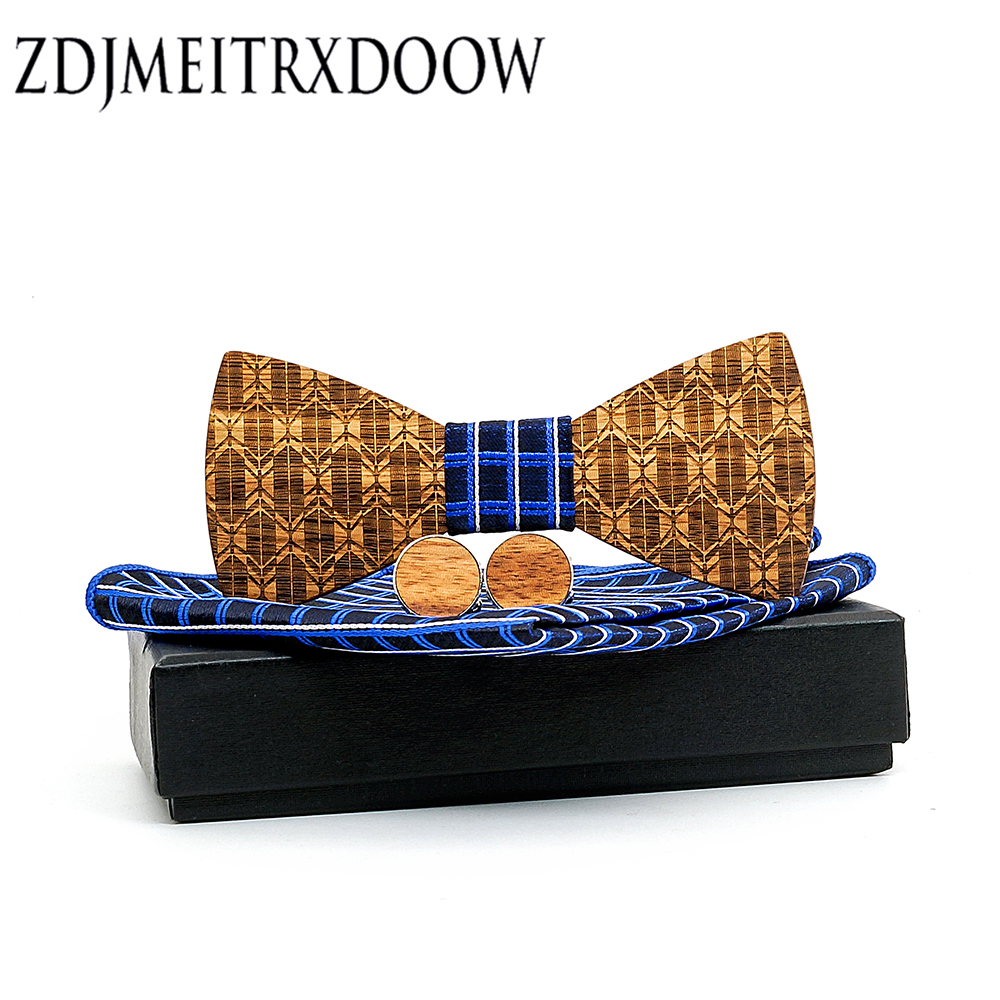 Classic Wooden Bow Tie Men Wedding Party Accessories Wood Bowties Cufflinks Set