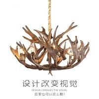 Chandeliers European style retro antlers American village resin chandelier living room hanging lights