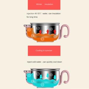 Image 4 - Crianças conjunto de pratos do bebê talheres de alimentação inoxidável isolado otário colher garfo copo preservação do calor anti quente formação tigela