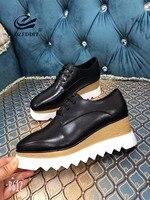 GOZEDDIT/туфли на танкетке 6 см из коровьей кожи, женские классические туфли на платформе, туфли на шнуровке с закрытым носком