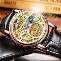 Швейцарские часы BINGER  мужские роскошные брендовые часы Tourbillon  мужские водонепроницаемые механические часы со скелетом