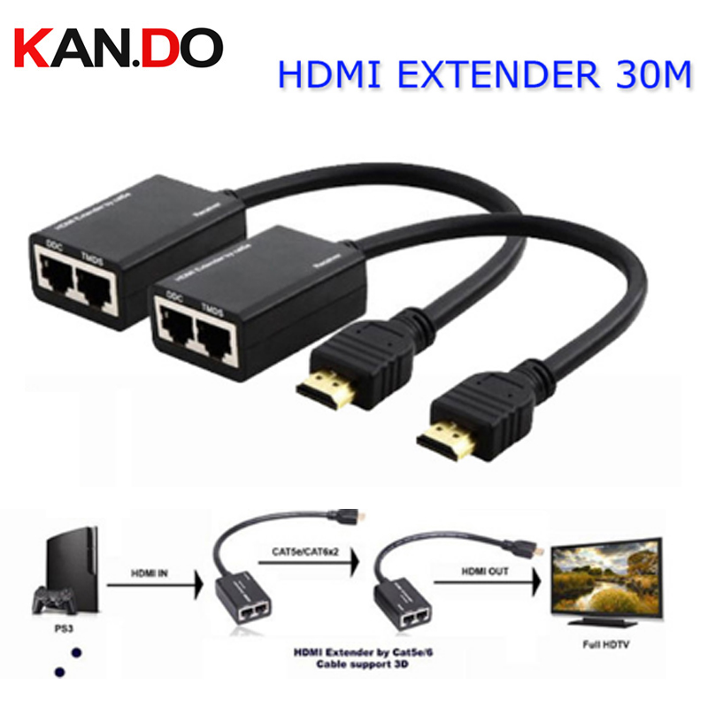 HDMI EXTENDER 30M HDMI Over RJ45 CAT5e CAT6 UTP LAN Ethernet Balun Extender Repeater - 1080p 3D best price new usb utp extender adapter over single rj45 ethernet cat5e 6 cable up to 150ft
