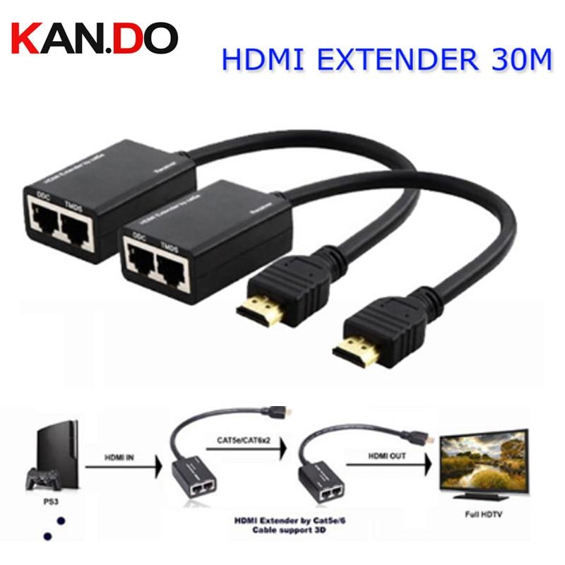 HDMI EXTENDER 30M HDMI Over RJ45 CAT5e CAT6 UTP LAN Ethernet Balun Extender Repeater - 1080p 3D