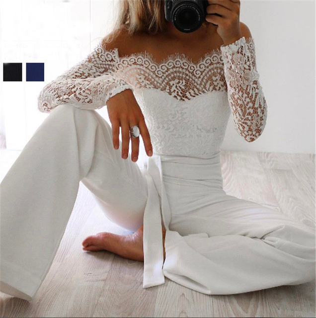 15e69713372b Super Fashion Spring Summer Jumpsuits Women High Quality Lace Patchwork  Embroidery Sexy Party Jumpsuit Rompers Ladies Bodysuits