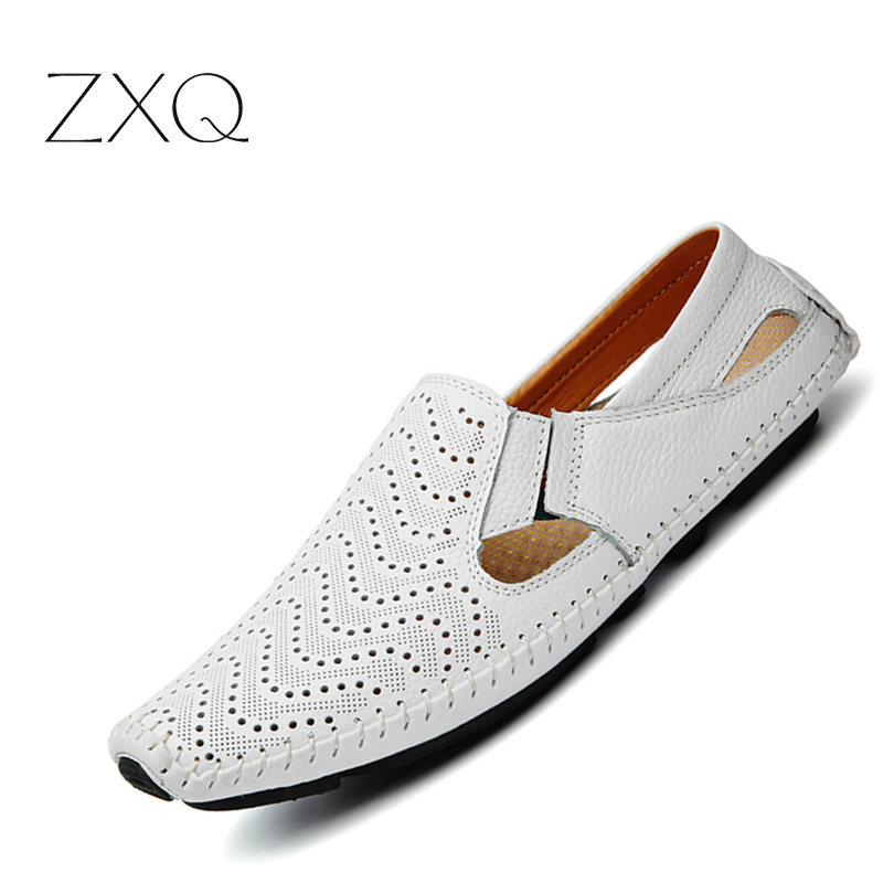 2018 Summer Leather Men Driving Loafers Breathable Men's Casual Shoes Slip-On Loafers Men Flats Moccasins Shoes Plus Size 47 цена